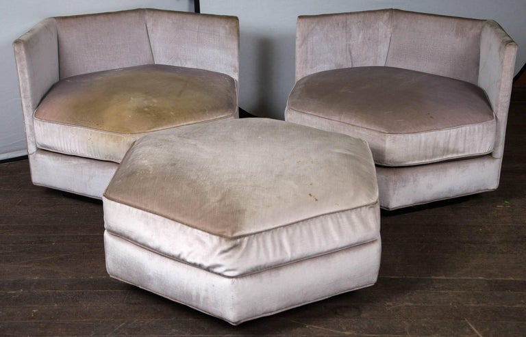 Late 20th Century Hexagonal Upholstered Ottoman For Sale
