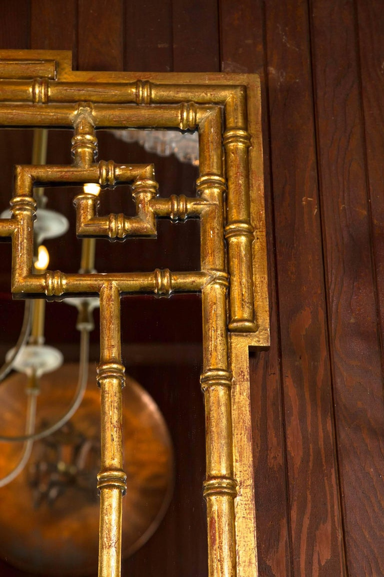 Carved Italian Chinoiserie Giltwood Faux Bamboo Mirror For Sale