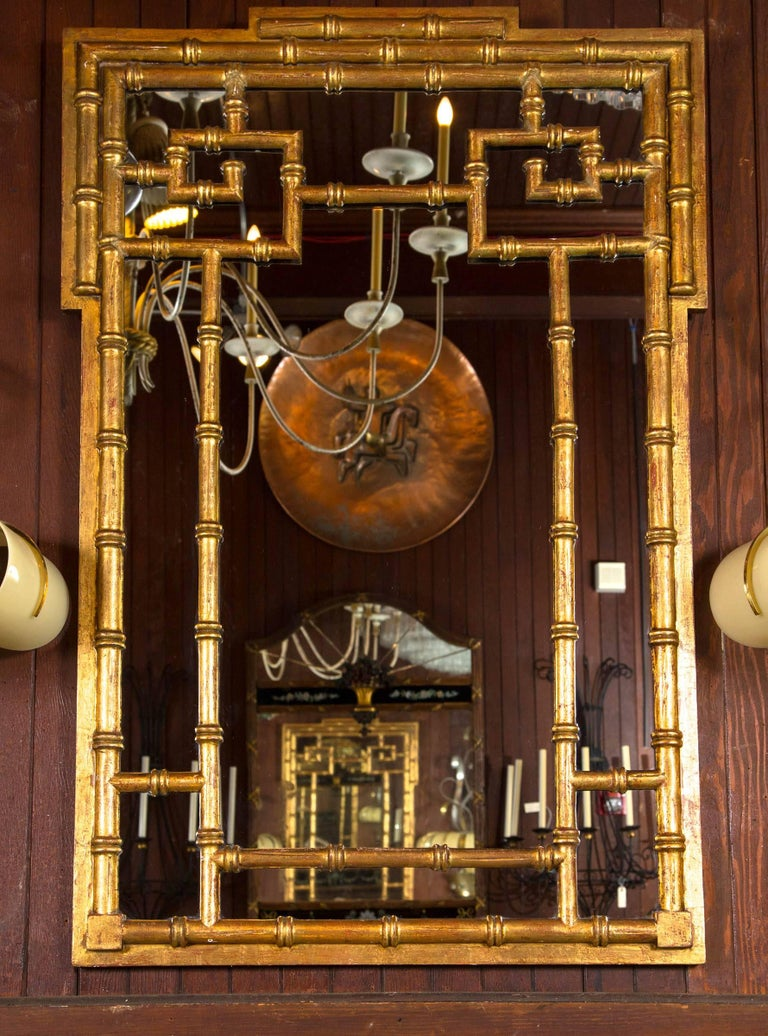Italian Chinoiserie Giltwood Faux Bamboo Mirror In Good Condition For Sale In Stamford, CT