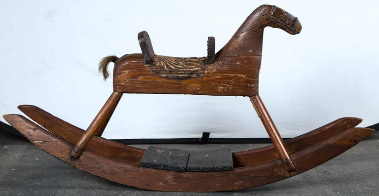 American Folk Art Child's Rocking Horse, circa 1900 For Sale 1