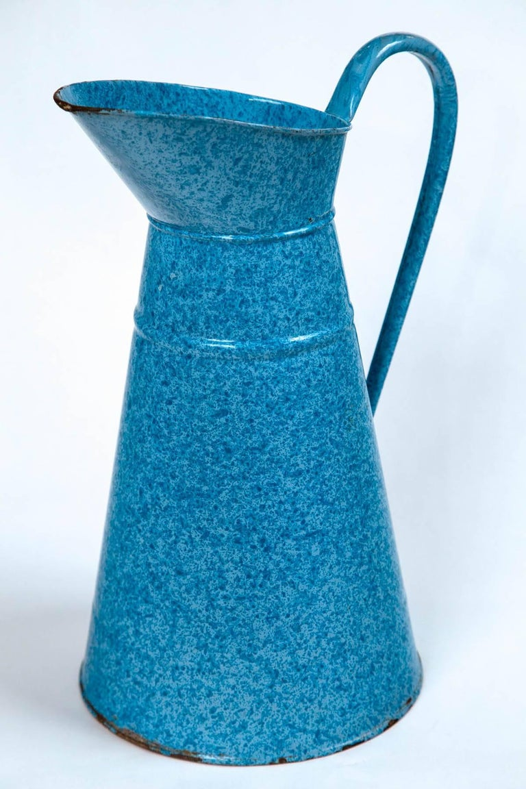 20th Century Vintage French Enamelware Pitcher, circa 1920 For Sale