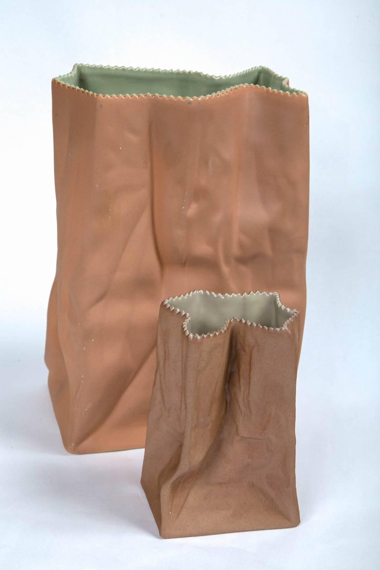 Vintage Paper Bag Vases by Tapio Wirkkala, Rosenthal, Finland, circa 1970s For Sale 1