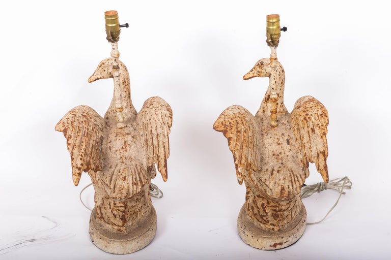Pair of Cast Iron Duck Lamps For Sale 3