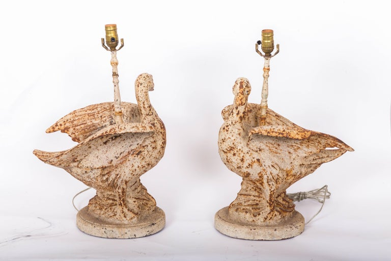 Pair of Cast Iron Duck Lamps For Sale 4
