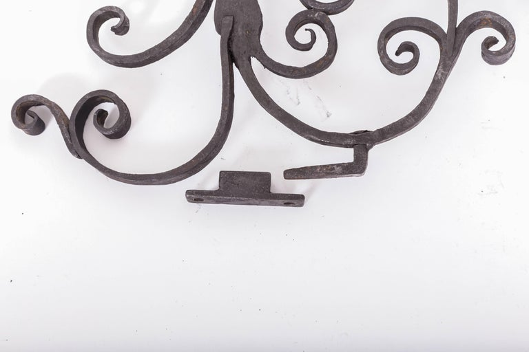 Pair of 17th Century European Hand-Forged Iron Wall Candle Sconces In Good Condition For Sale In Southampton, NY