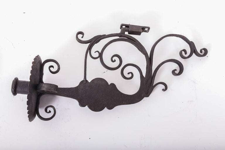 Pair of 17th Century European Hand-Forged Iron Wall Candle Sconces For Sale 6