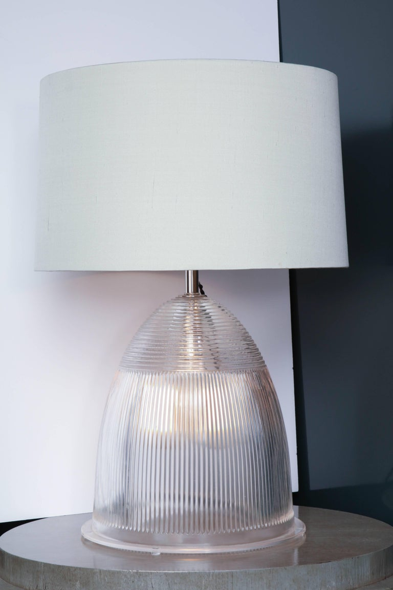 Industrial Prismatic Glass Double Light Table Lamp At 1stdibs