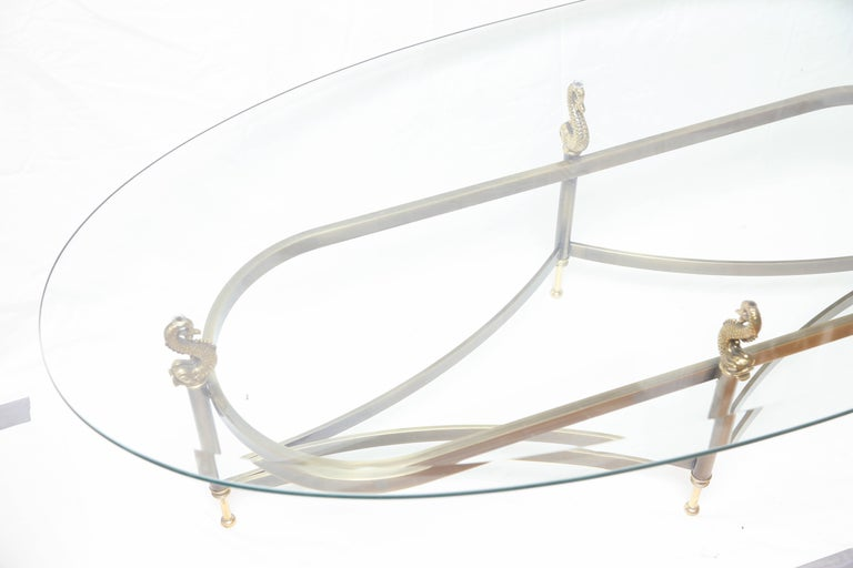 Midcentury Oval Brass Koi Fish Cocktail Table