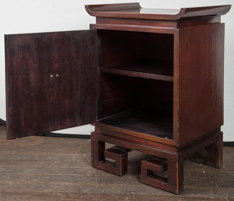 Bronze Pair of James Mont Style Bedside Tables For Sale