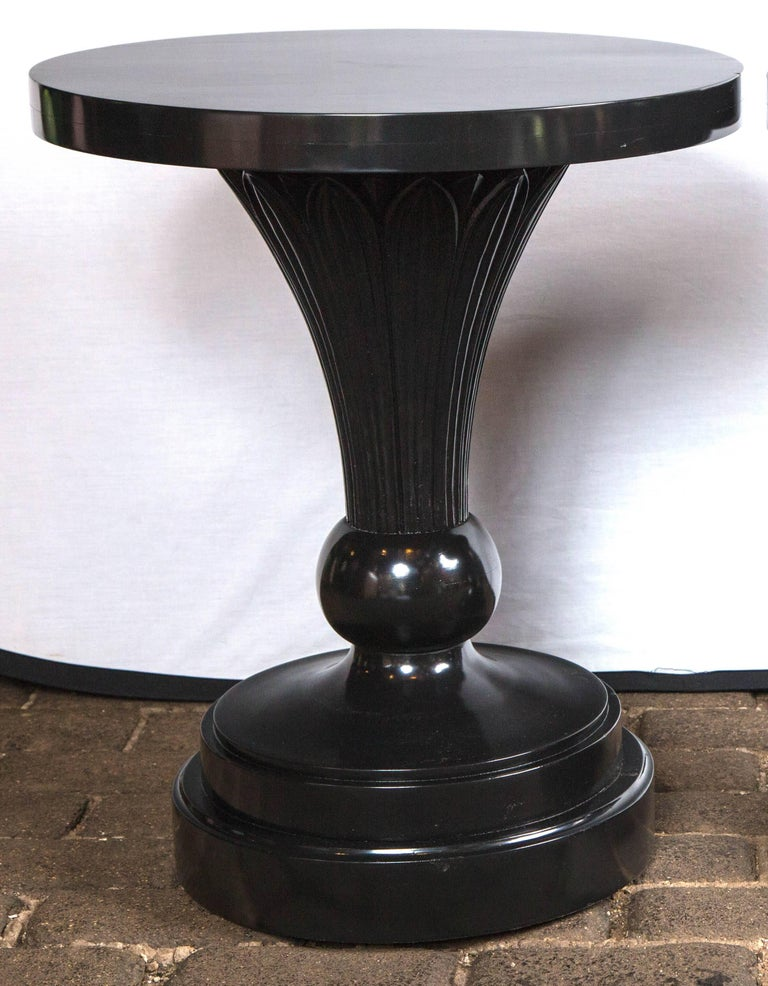 Late 1940s large-scale authentic Dorothy Draper pair of custom-made pedestal tables from the Greenbrier Resort. These were not mass produced pieces.