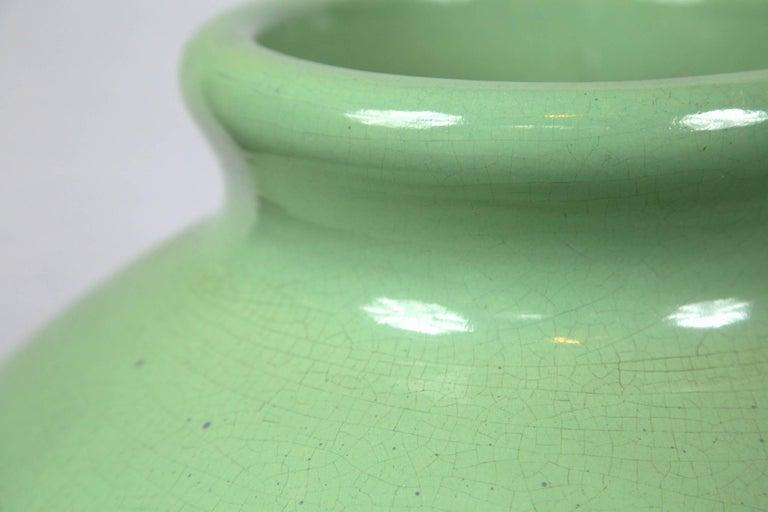 1920s-1930s large green glazed vase. Beautiful color!