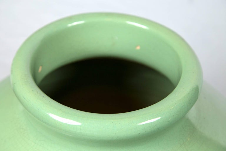 Mid-20th Century Large Green Pottery Oil Jar Urn For Sale