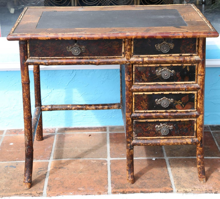Brass Superb 19th Century English Bamboo Desk For Sale
