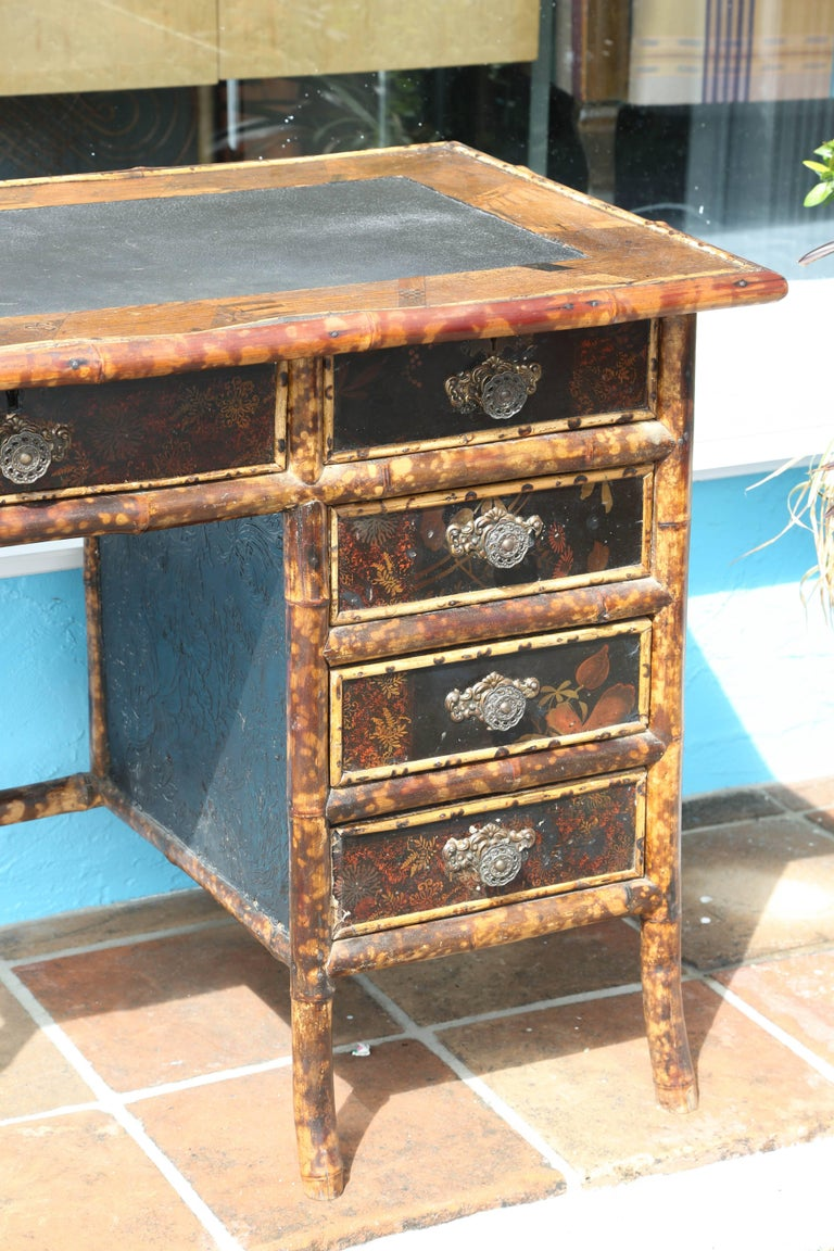 Superb 19th Century English Bamboo Desk For Sale 1