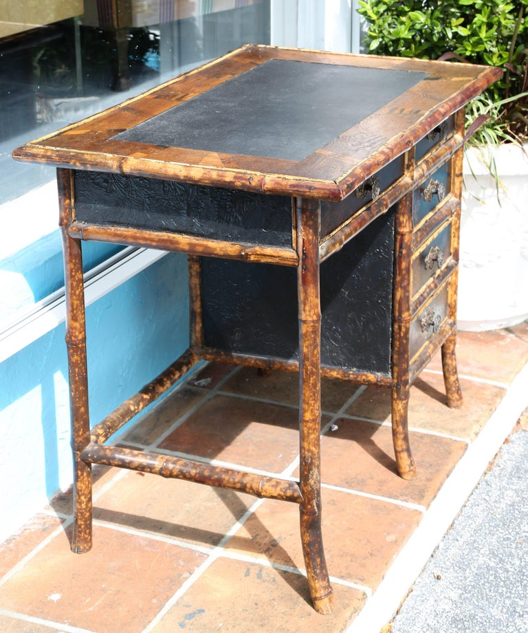Superb 19th Century English Bamboo Desk For Sale 2