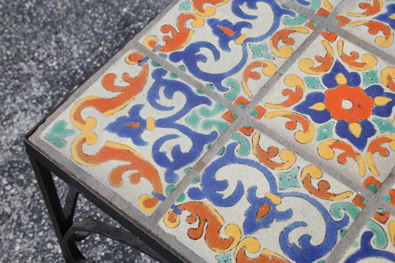 Large Mizner Era Tile Top Table In Good Condition For Sale In West Palm Beach, FL