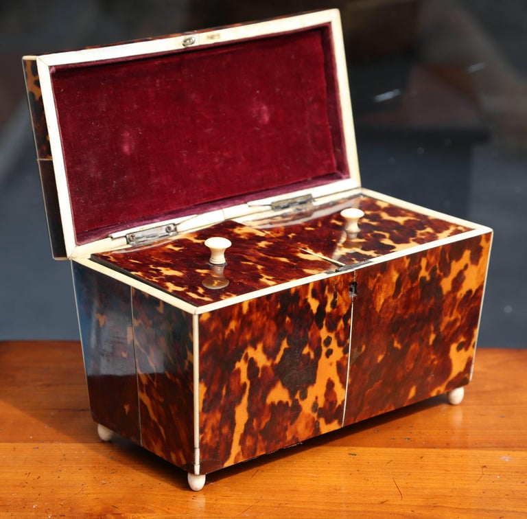 """An exquisite example with fine """"string"""" inlay. The piece is generously scaled with dome-type top."""