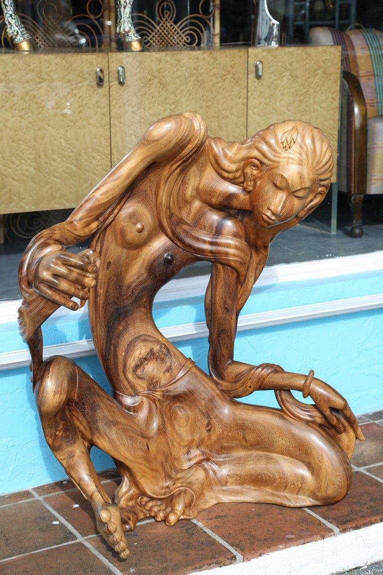 Balinese Larger Than Life Midcentury Teak Root Nude For Sale