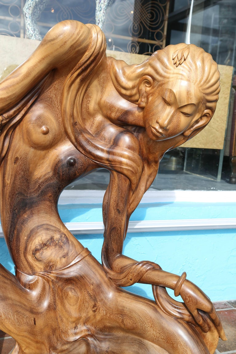 Hand-Carved Larger Than Life Midcentury Teak Root Nude For Sale