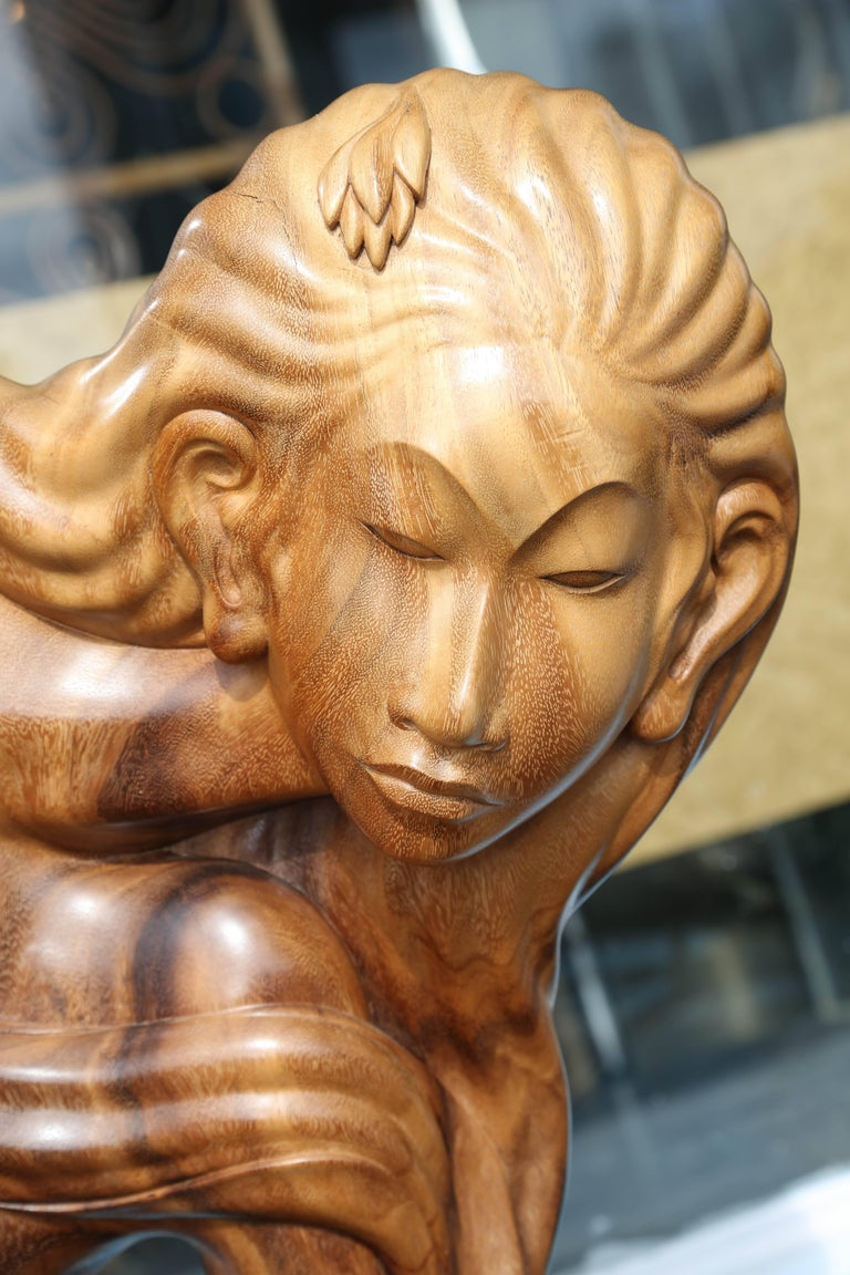 Larger Than Life Midcentury Teak Root Nude In Good Condition For Sale In West Palm Beach, FL