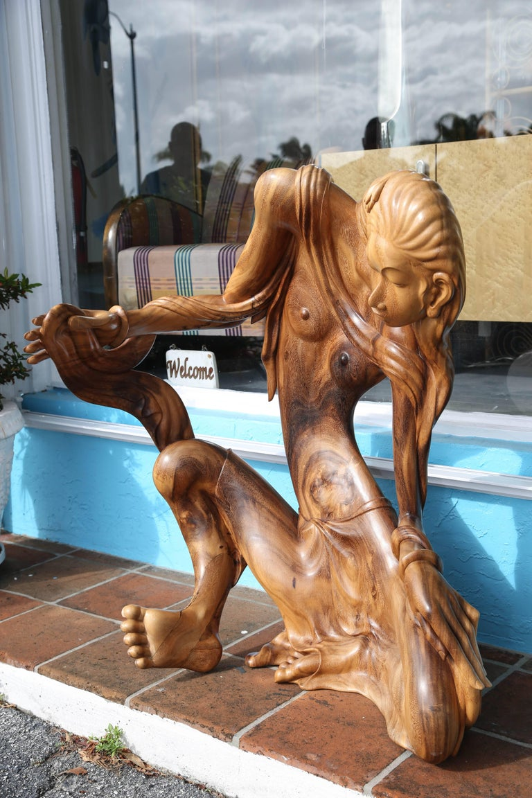 Mid-20th Century Larger Than Life Midcentury Teak Root Nude For Sale