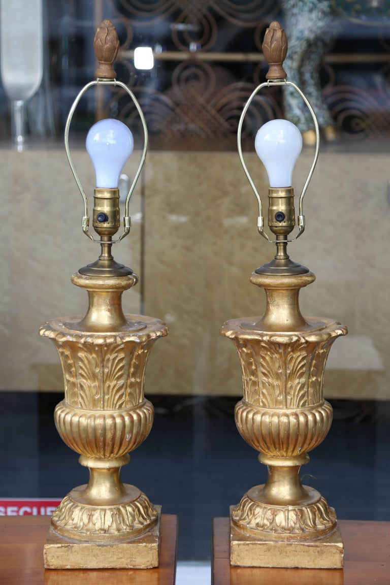 Fine Pair of 19th Century Neoclassic Giltwood Urns Now Electrified 7