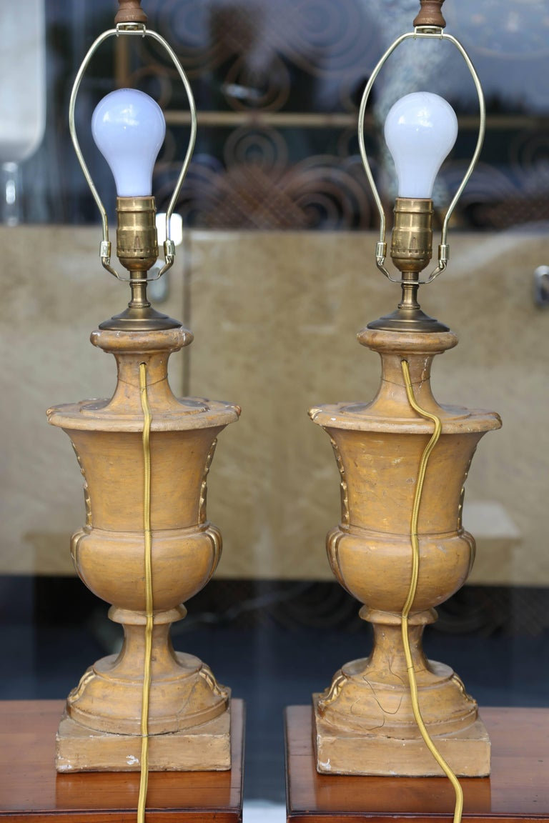 Fine Pair of 19th Century Neoclassic Giltwood Urns Now Electrified 9