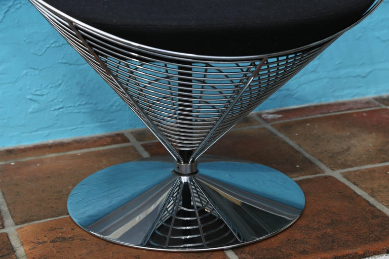 Mid-Century Modern Midcentury Verner Panton Chrome Cone Chair For Sale