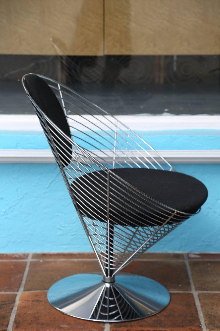 Midcentury Verner Panton Chrome Cone Chair In Good Condition For Sale In West Palm Beach, FL
