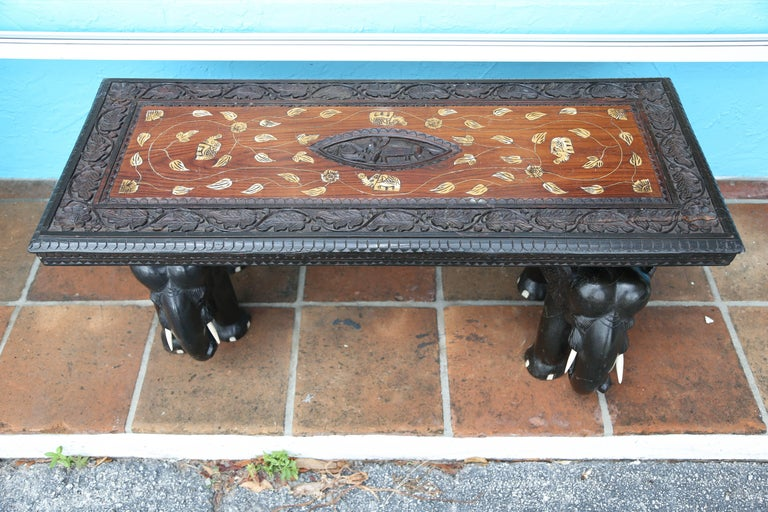 Hand-Carved Anglo-Indian Elephant Motif Cocktail Table For Sale