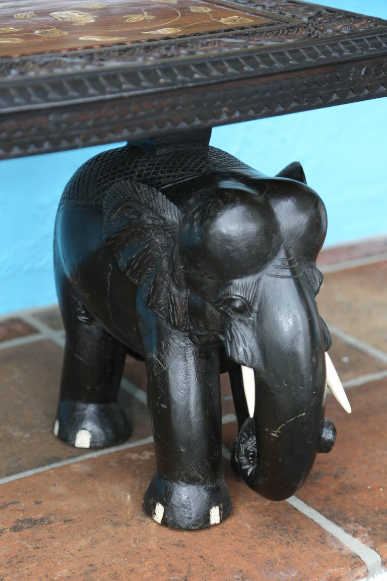 20th Century Anglo-Indian Elephant Motif Cocktail Table For Sale