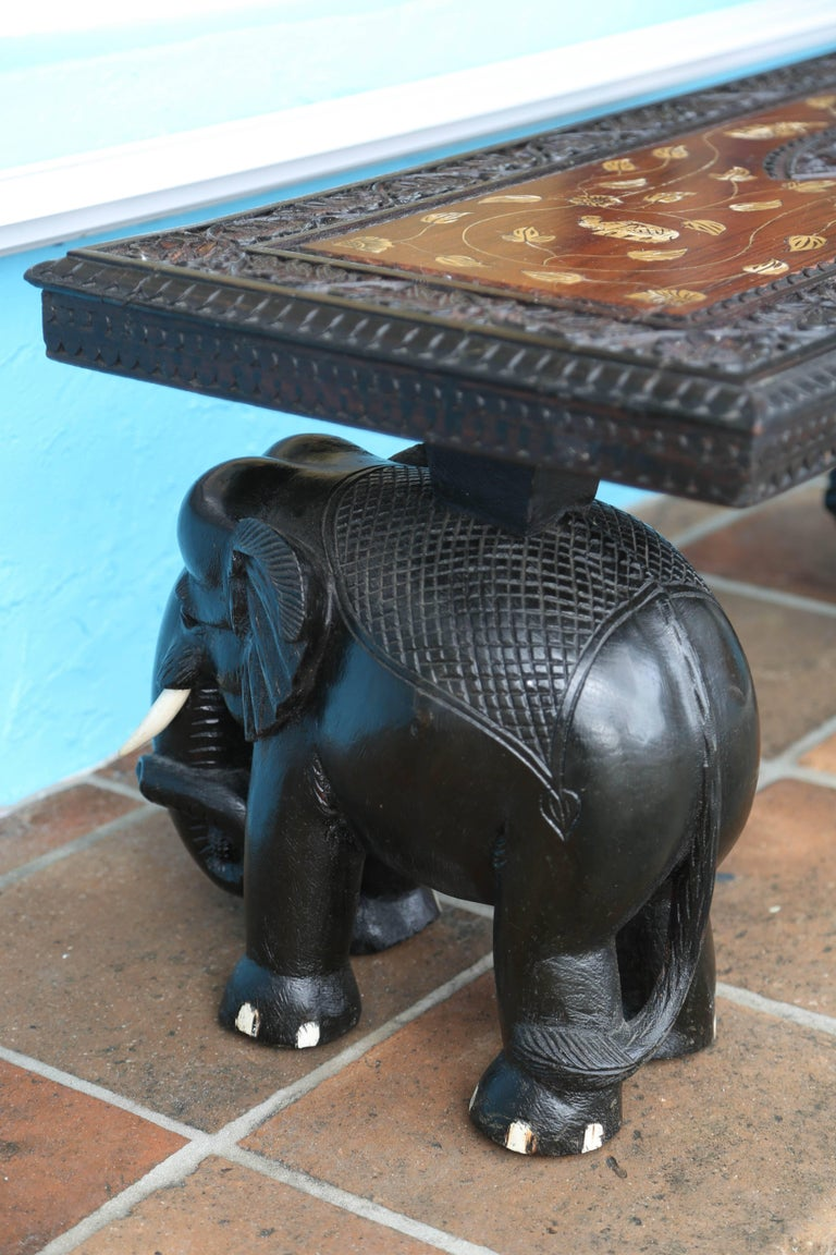Anglo-Indian Elephant Motif Cocktail Table For Sale 3
