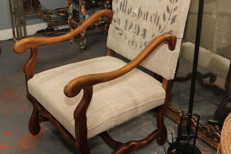 19th Century French Carved Wood Armchair in Homespun In Good Condition For Sale In Seattle, WA