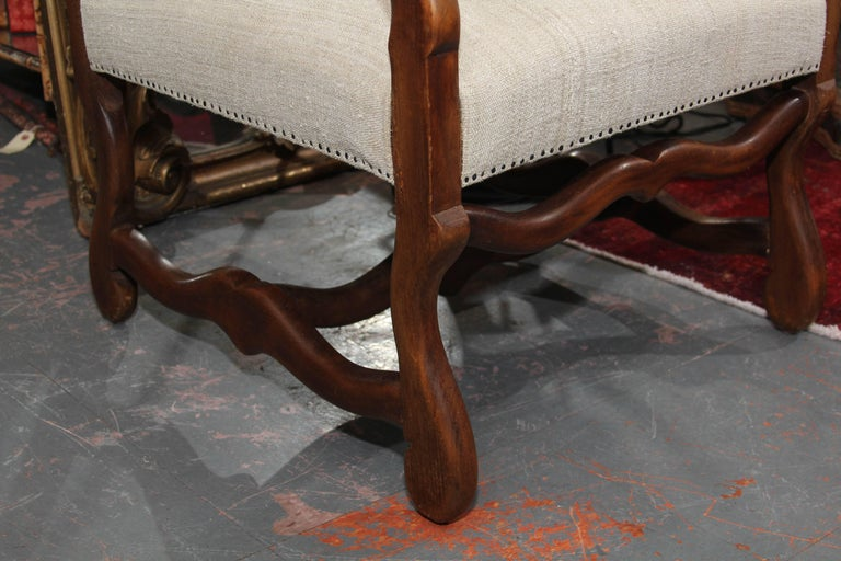 19th Century French Carved Wood Armchair in Homespun For Sale 1