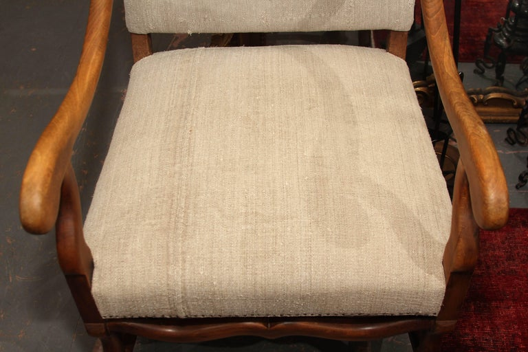 19th Century French Carved Wood Armchair in Homespun For Sale 4