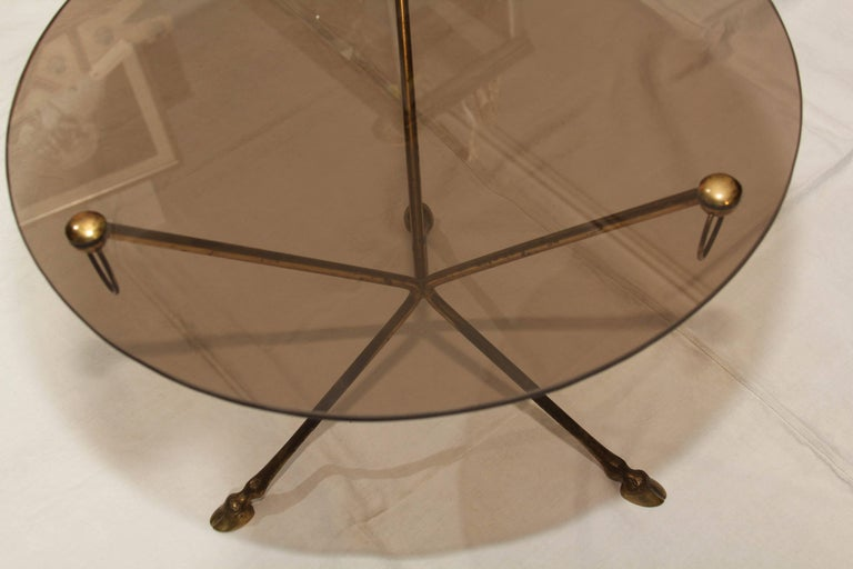 Midcentury French Glass and Brass Tripod Table with Deer-Hoof  For Sale 2