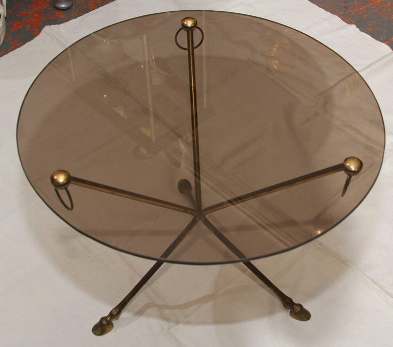 Midcentury French Glass and Brass Tripod Table with Deer-Hoof  For Sale 3