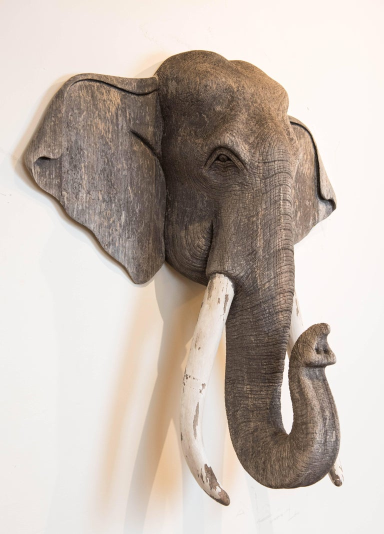 Vintage Carved Wood Elephant Wall Sculpture 2