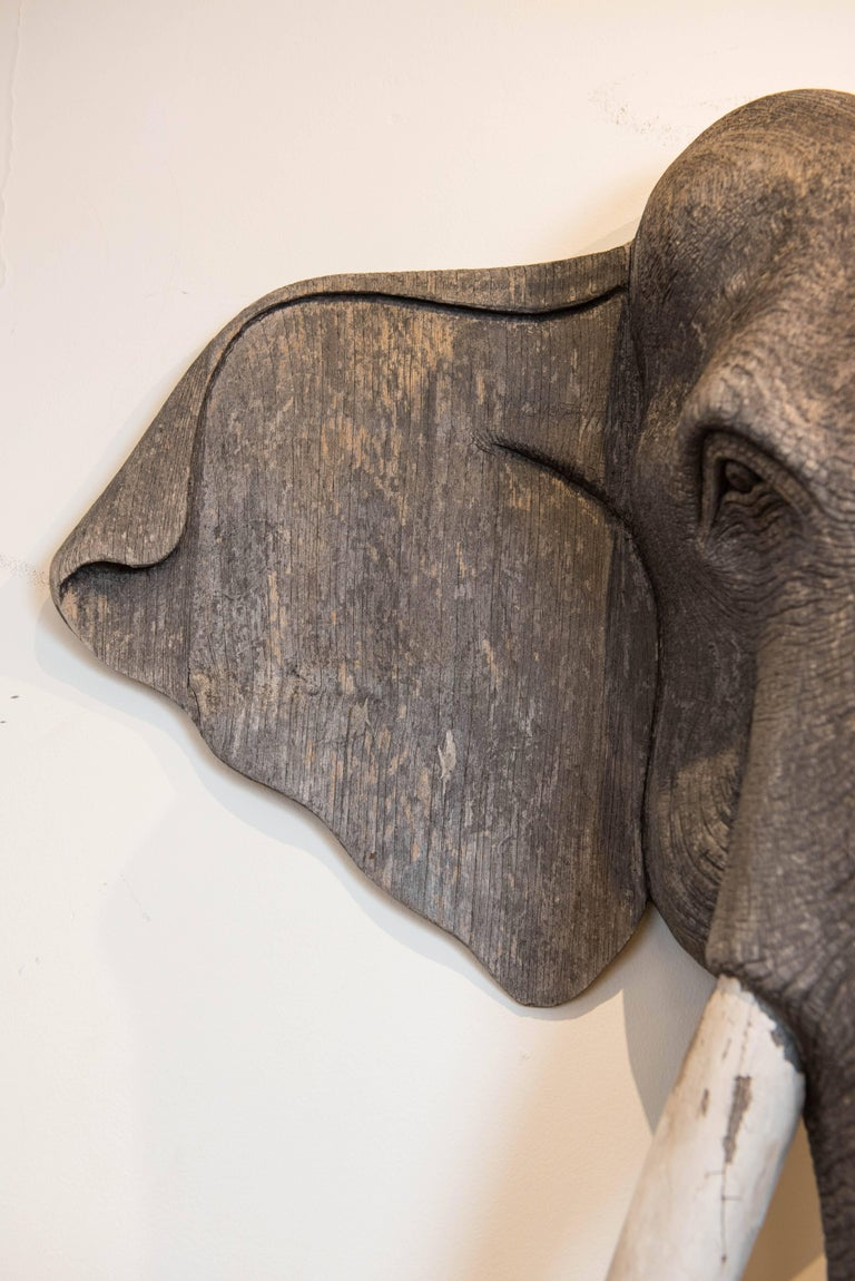 Late 20th Century Vintage Carved Wood Elephant Wall Sculpture For Sale