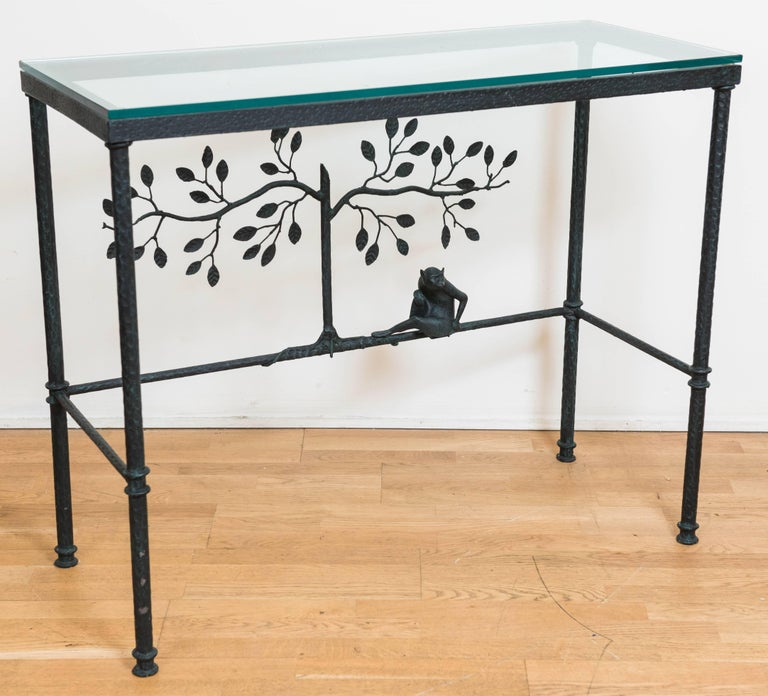 Giacometti Style Console Table With Glass Top In Excellent Condition For Sale In Toronto, CA