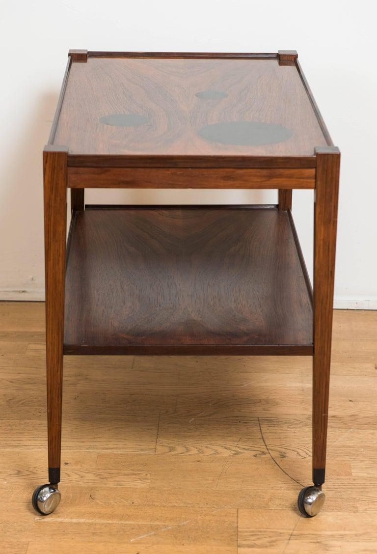 Mid-Century Modern Danish Rosewood Bar Cart, Denmark, circa 1960 For Sale 2