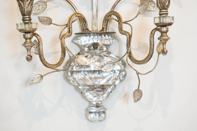 This large and impressive two-light glass and silver leaf sconce is wired for North America and ready to be installed.