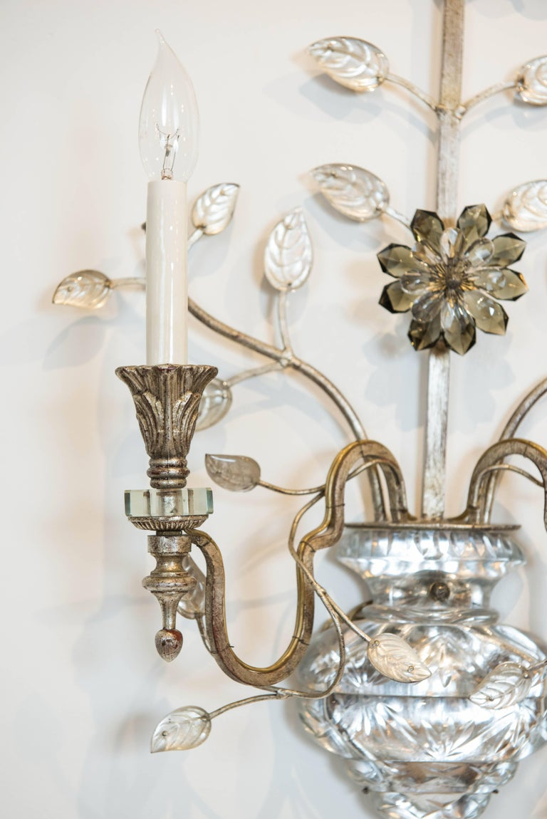 Italian Single Silver Leaf Bagues Style Sconce from Italy For Sale
