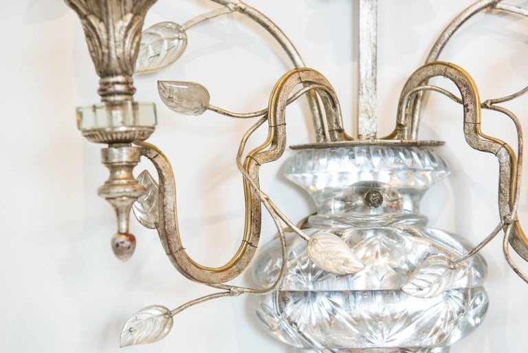 Late 20th Century Single Silver Leaf Bagues Style Sconce from Italy For Sale