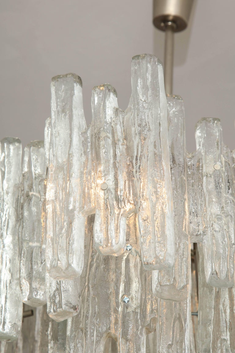 Vintage Kalmar Ice Glass Chandelier In Good Condition For Sale In New York, NY