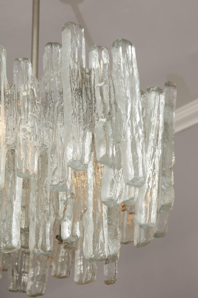 20th Century Vintage Kalmar Ice Glass Chandelier For Sale