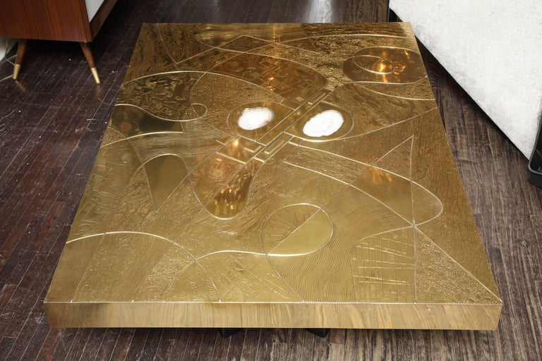 Spectacular Etched Brass and Double Agate Rectangular Cocktail Table 2