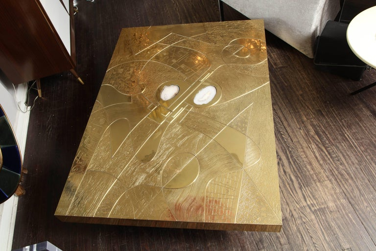Spectacular Etched Brass and Double Agate Rectangular Cocktail Table 3
