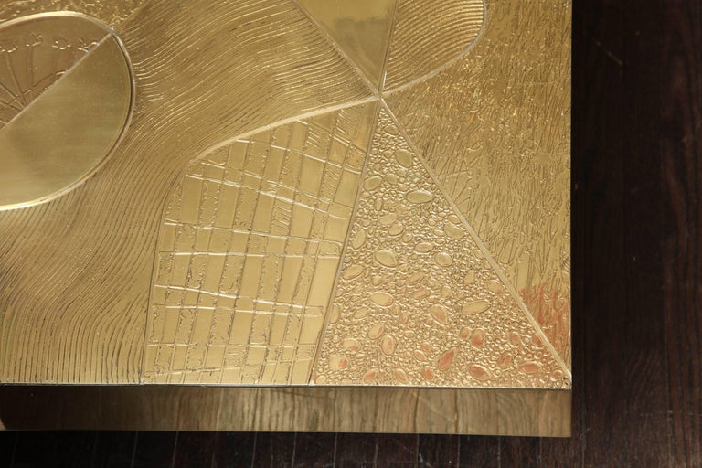 Spectacular Etched Brass and Double Agate Rectangular Cocktail Table 5