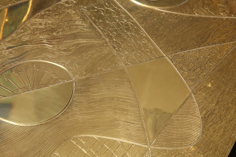 Spectacular Etched Brass and Double Agate Rectangular Cocktail Table 6
